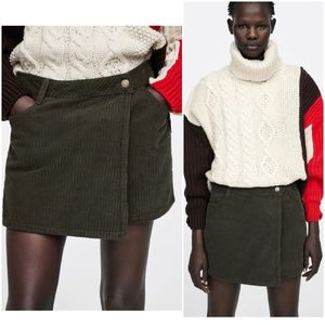 Zara corduroy bermuda skort shorts, olive
